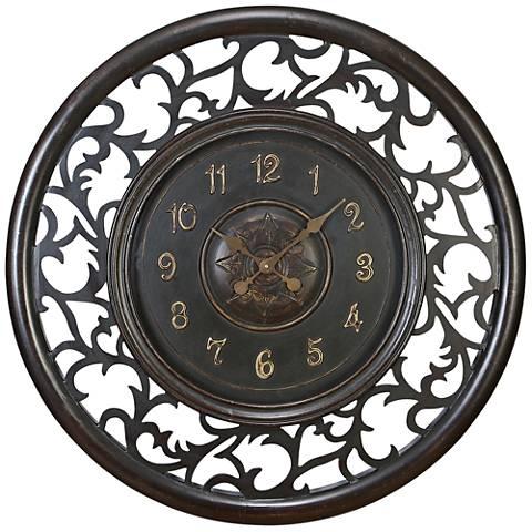 "Sophina Brown Wood 36"" Round Openwork Wall Clock"