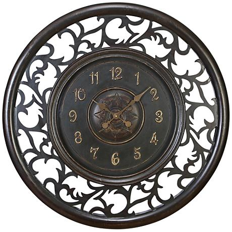 "Sophina Brown Wood 36"" Round Openwork Wall Clock"