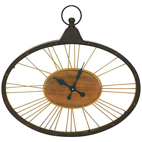 "Edison Wood and Metal 28"" Wide Oval Wall Clock"