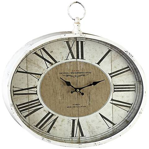 "Golden Oaks Distressed White Metal 18"" Wide Oval Wall Clock"