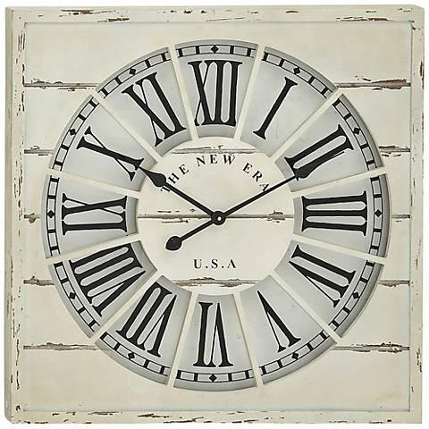 "New Era White Wood 27"" Square Wall Clock"