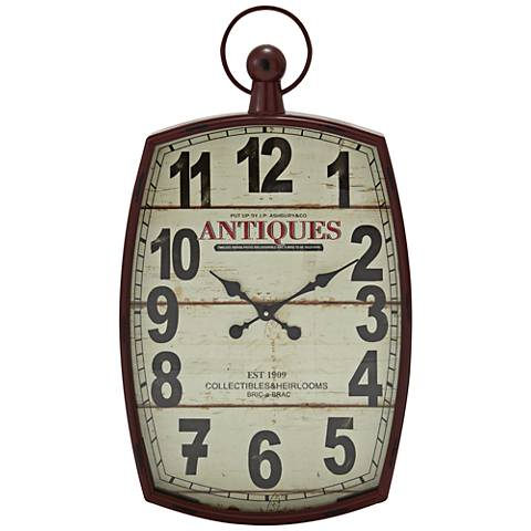 "Carver Brown Metal and Wood 33"" High Wall Clock"