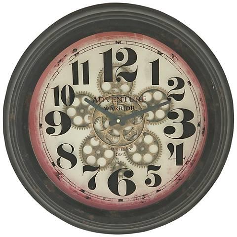 """Dickens Black Metal 18"""" Round Arabic Numbers Wall Clock"""