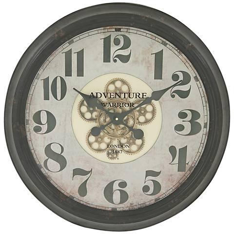 "Stanton Black Metal 15"" Round Arabic Numbers Wall Clock"