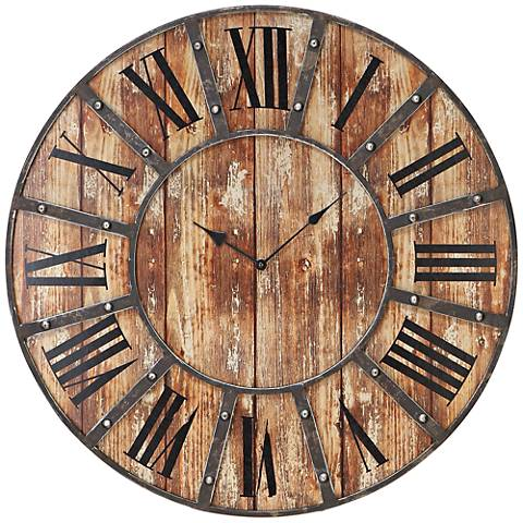 "McArthur Distressed Wood and Metal 24"" Round Wall Clock"