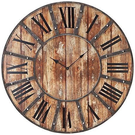 """McArthur Distressed Wood and Metal 24"""" Round Wall Clock"""