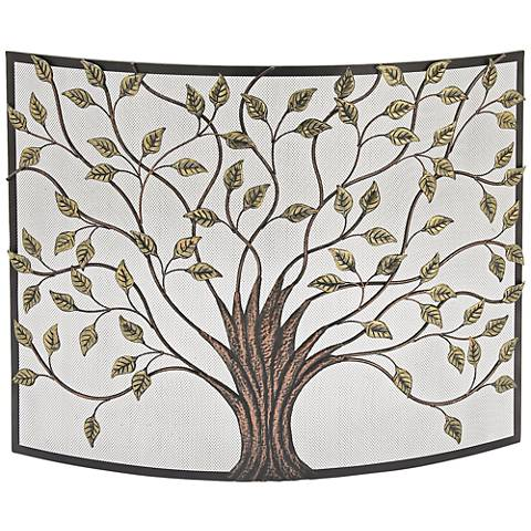 "Tree of Life Iron Metal 33"" High Fire Screen"