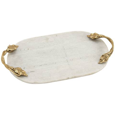Kenna Aluminum and White Marble Decorative Oval Tray