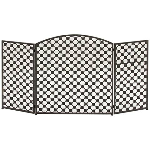 "Lex 30"" High Black Metal 3-Panel Arched Fire Screen"