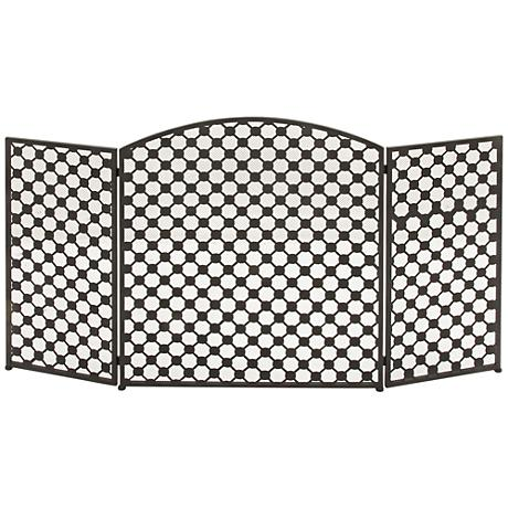 """Lex 30"""" High Black Metal 3-Panel Arched Fire Screen"""