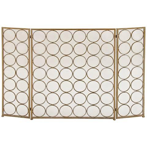 "Rings 32"" High Brass Gold Metal 3-Panel Fire Screen"