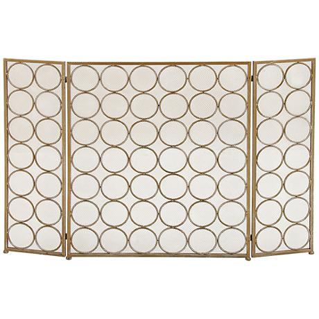 "Rings 32"" High Brass Gold Metal 3-Panel Fire Screen"