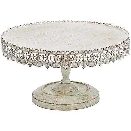 "Victoria Antique Whitewash 16"" Wide Iron Cake Stand"
