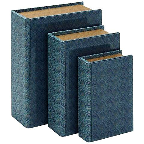 Aquamarine Faux Leather Wood 3-Piece Bookboxes Set