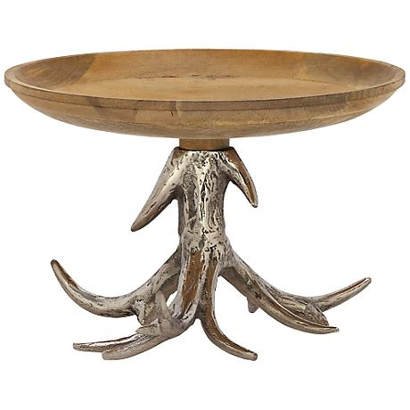 Aluminum Antler and Wood Decorative Bowl