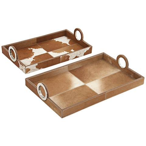 Brown Hide Leather Wood 2-Piece Rectangle Trays