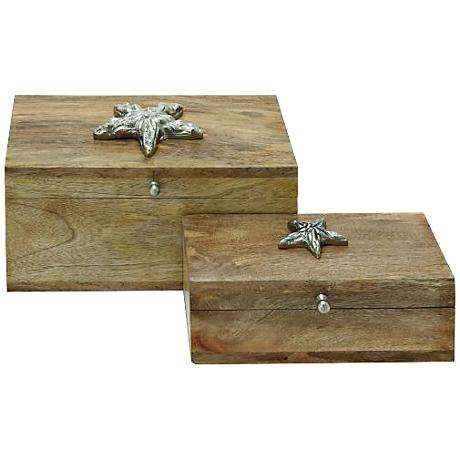 Silver Starfish Natural Wood 2-Piece Decorative Boxes Set