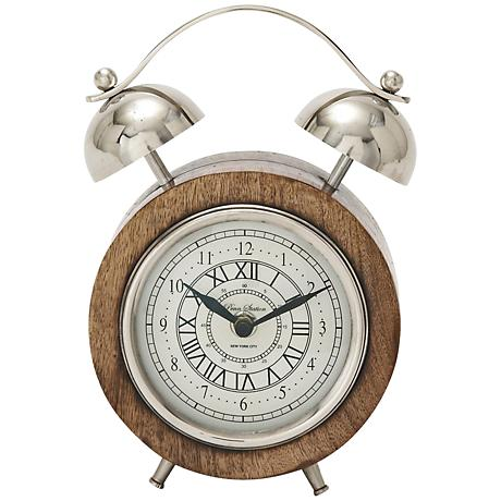 "Jay Stainless Steel Wood 8"" High Table Clock"