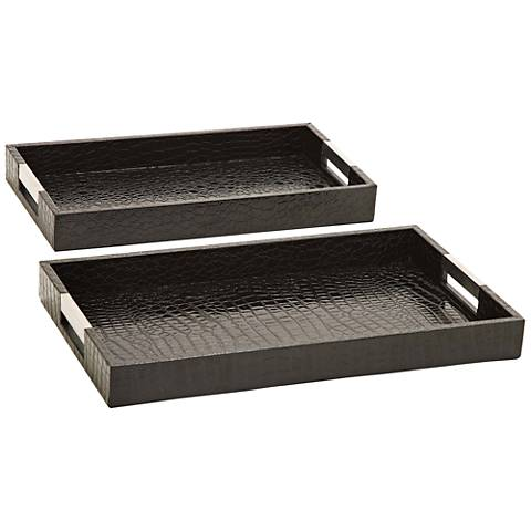 Jed Black Leatherette 2-Piece Wood Trays Set