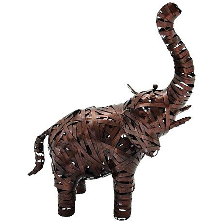"""Metal Elephant 23"""" High Copper Brown Statue"""