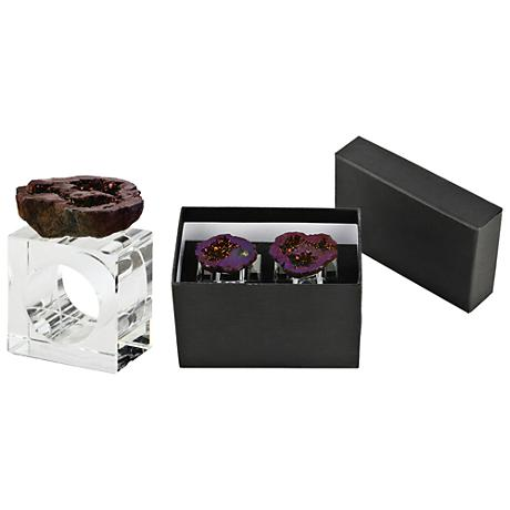 Barron Purple Geode and Clear Glass Napkin Ring Set of 2