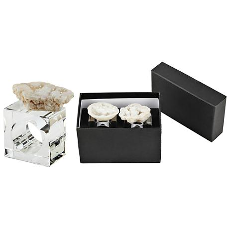 Barron White Geode and Clear Glass Napkin Ring Set of 2