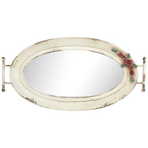 Amelia Iron and Glass Vintage Mirrored Oval Tray