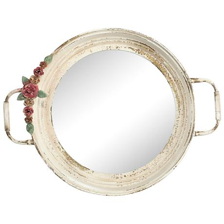 Amelia Iron and Glass Vintage Mirrored Round Tray