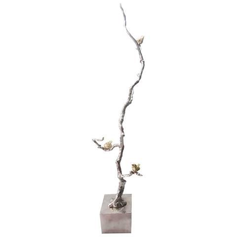 "Solikka Tall Tree Branch 37"" High Aluminum Sculpture"