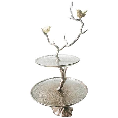 """Solikka 2-Tiered Tree Branch 24"""" High Aluminum Stand"""