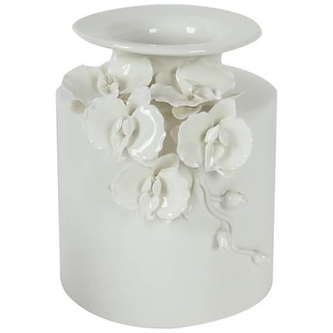 "Cordone 8 3/4"" High White Ceramic Vase"