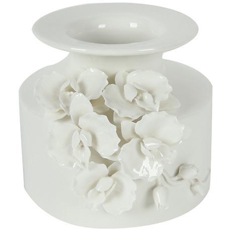"Cordone 6 1/4"" High White Ceramic Vase"