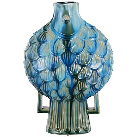 """Meria Fish 16"""" High Blue Ceramic Vase"""