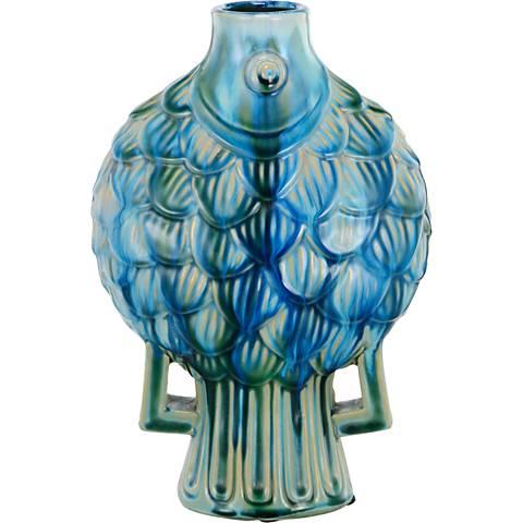 """Meria Fish 12"""" High Blue Ceramic Vase"""