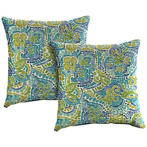 "Destiny Caribbean 18"" Square Outdoor Throw Pillow Set of 2"