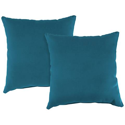 "Fresco Peacock 18"" Square Indoor-Outdoor Pillow Set of 2"