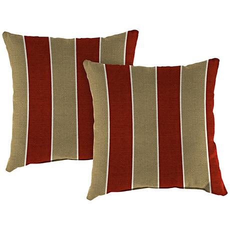 "Wickenburg Cherry 18"" Square Outdoor Throw Pillow Set of 2"