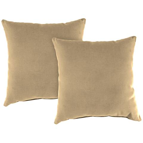 "Antique Beige 18"" Square Indoor-Outdoor Pillow Set of 2"