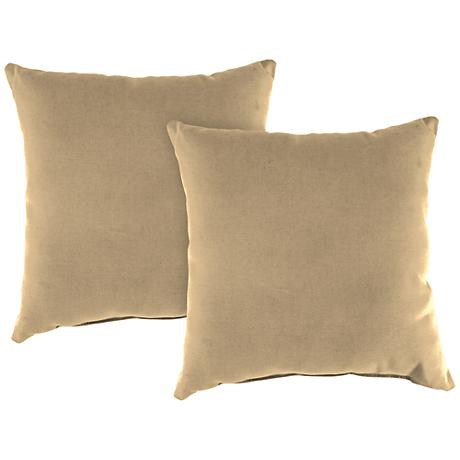 """Antique Beige 18"""" Square Outdoor Throw Pillow Set of 2"""