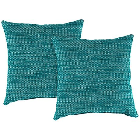 "Remi Lagoon Text 18"" Square Outdoor Throw Pillow Set of 2"