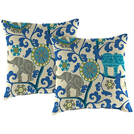 "Managerie Sapphire 18"" Square Outdoor Throw Pillow Set of 2"