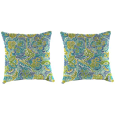 "Destiny Caribbean 16"" Square Indoor-Outdoor Pillow Set of 2"