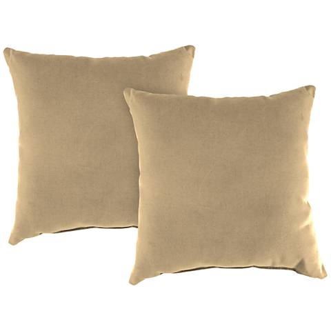 "Antique Beige 16"" Square Outdoor Throw Pillow Set of 2"