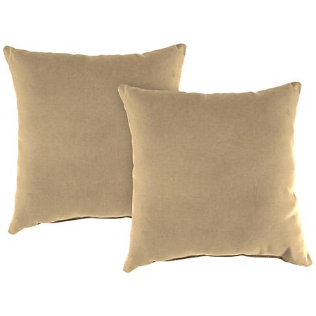 """Antique Beige 16"""" Square Outdoor Throw Pillow Set of 2"""