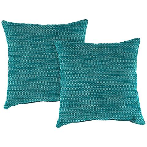 "Remi Lagoon Text 16"" Square Outdoor Throw Pillow Set of 2"