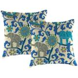 "Managerie Sapphire 16"" Square Indoor-Outdoor Pillow Set of 2"