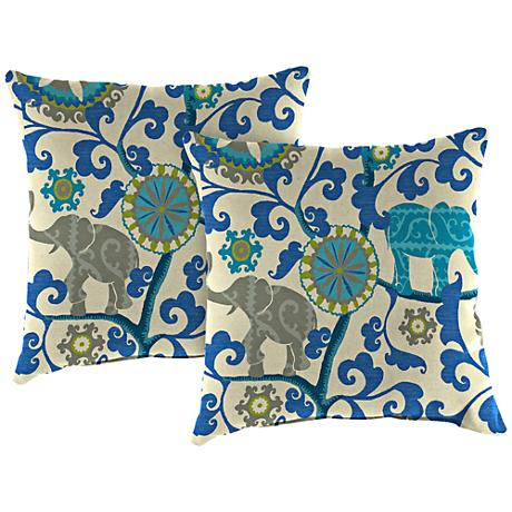 """Managerie Sapphire 16"""" Square Outdoor Throw Pillow Set of 2"""