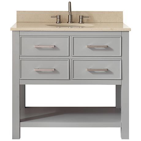 Avanity Brooks Beige Marble-Top Gray Single-Sink Vanity