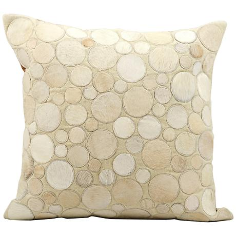 "Nourison Circle Natural Leather 20"" Square Beige Pillow"