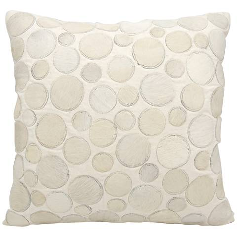 "Nourison Circle Natural Leather 20"" Square White Pillow"